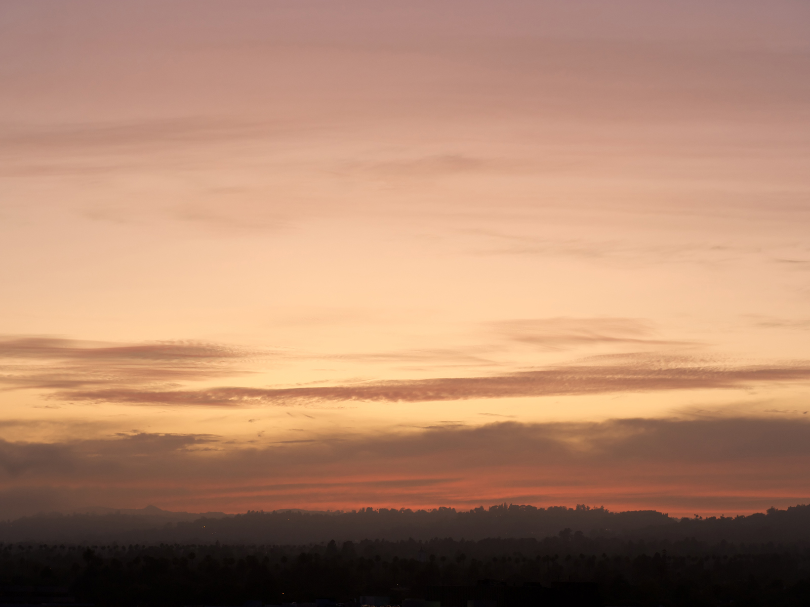 pink sunset over the skyline of Los Angeles, Caliornia, USA
