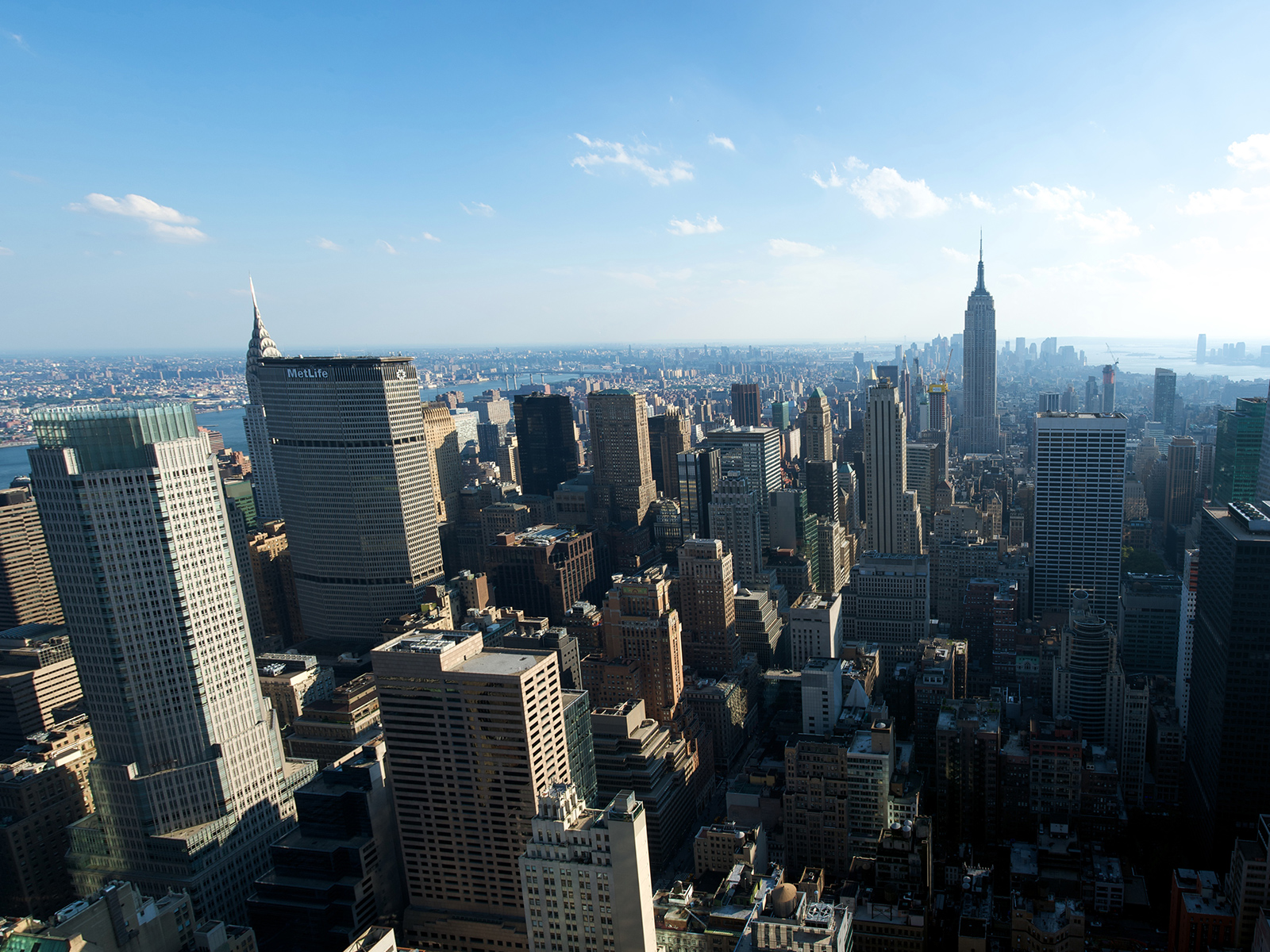 view from the top of the Rockefeller centre observation deck in New York, USA